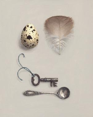 Hybrid Gallery Rachel Ross Quail's Egg and Feather with Key and Spoon