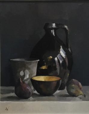 Hybrid Gallery Annie Waring Gilded Bowl with Figs and Black Jug