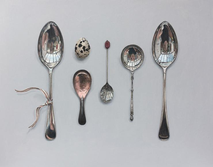 Hybrid Gallery Rachel Ross Arranged Spoons with Quail's Egg and Striped Ribbon