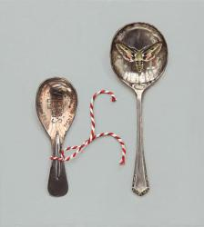 Caddy and Dessert Spoon with Hawkmoth