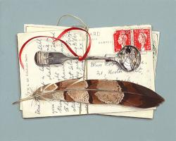 Postcards with Spoon and Feather
