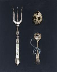Quail's Egg with Fork and Spoon