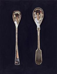 Two Salt Spoons on Black