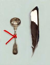 Spoon with Magpie Feather