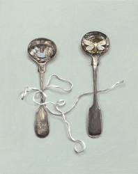 Saltspoons with White Moth and String