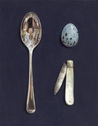 Spoon with Egg and Mother of Pearl Knife