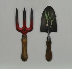 Fork with Trowel and Crocus Bulbs