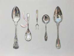 Hybrid Gallery Rachel Ross Arranged Silverware with Ribbon