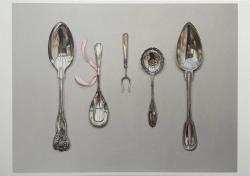 Rachel Ross | Arranged Silverware with Ribbon