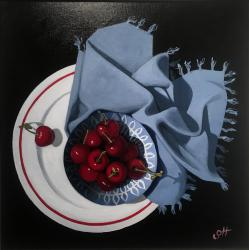 Hybrid Gallery Gill Hamilton Cherries and Blue Cloth