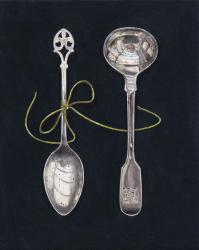 Hybrid Gallery Rachel Ross Two Small Spoons with Green Silk