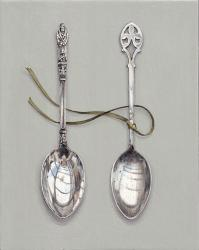 Hybrid Gallery Rachel Ross Two Spoons with Green Silk