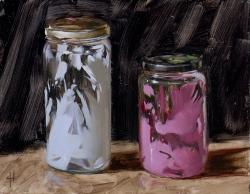 Jars with Pink and White Paint