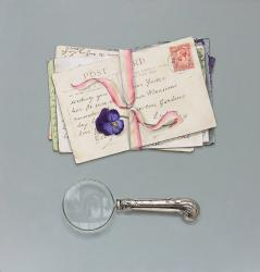 Hybrid Gallery Rachel Ross Tied Postcards with Magnifying Glass