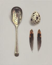 Hybrid Gallery Rachel Ross Goose Egg Spoon with Feather and Quail's Egg